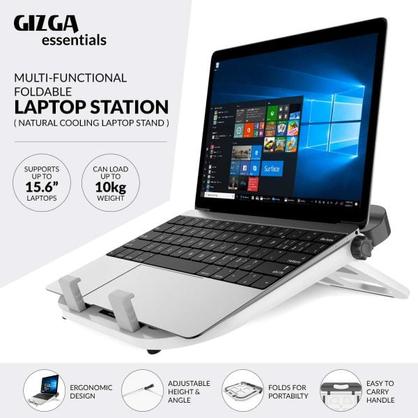 Gizga Essentials Laptop Stand - Multi Functional, Mutli Angle Portable Stand (White)