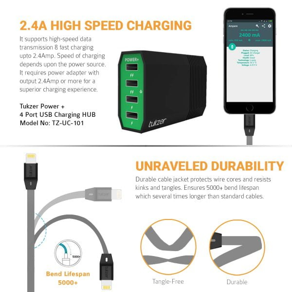 Tukzer Lightning Cable 8 Pin - Apple MFi Certified - 2.4Amp Fast Charge