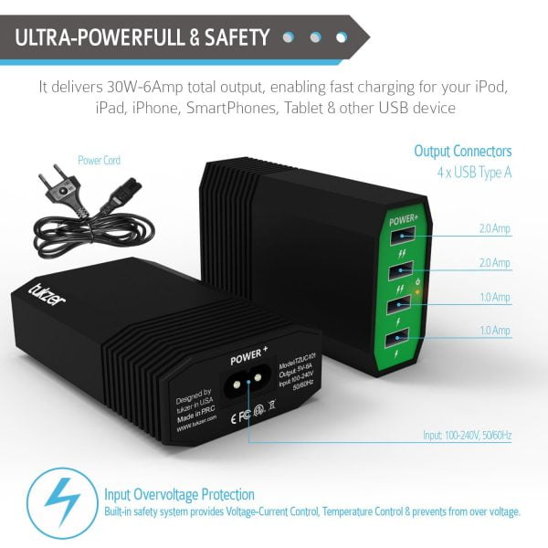 Tukzer 30W 4 Ports USB Desktop Charging Station Home Wall Charger (Green, Black)