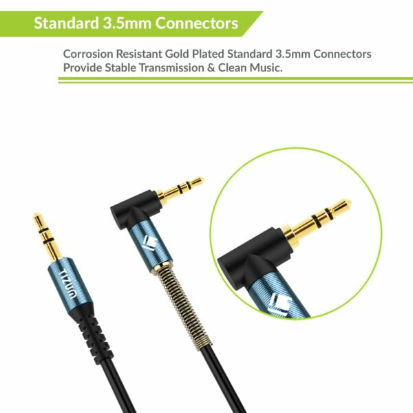Tizum 3.5mm Gold Plated Audio Aux Cable, Cord XL-6ft Right Angle Connector with Spring