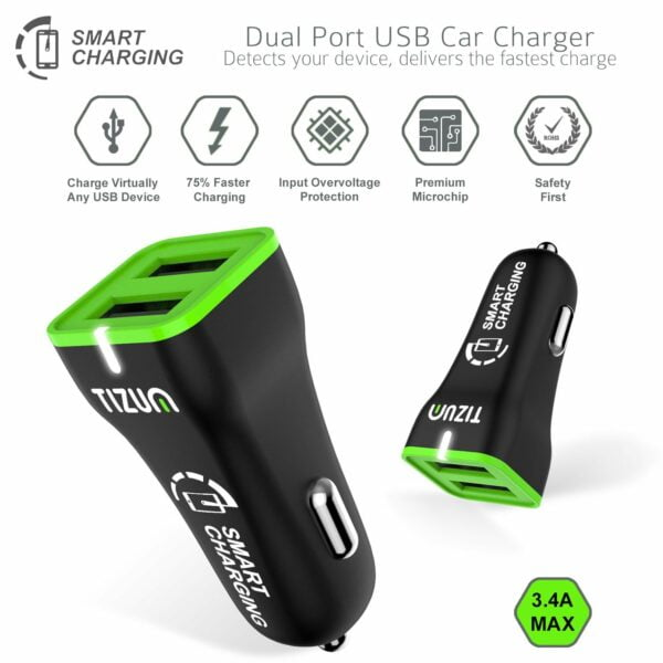 Tizum Smart Charging Car Charger 3.4 Amp, Dual Port - Super Fast Charging