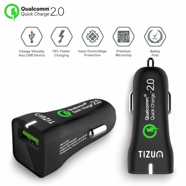 Tizum Qualcomm® 2.0 Certified Worldwide Car Charger with Fast Charging Micro USB Cable
