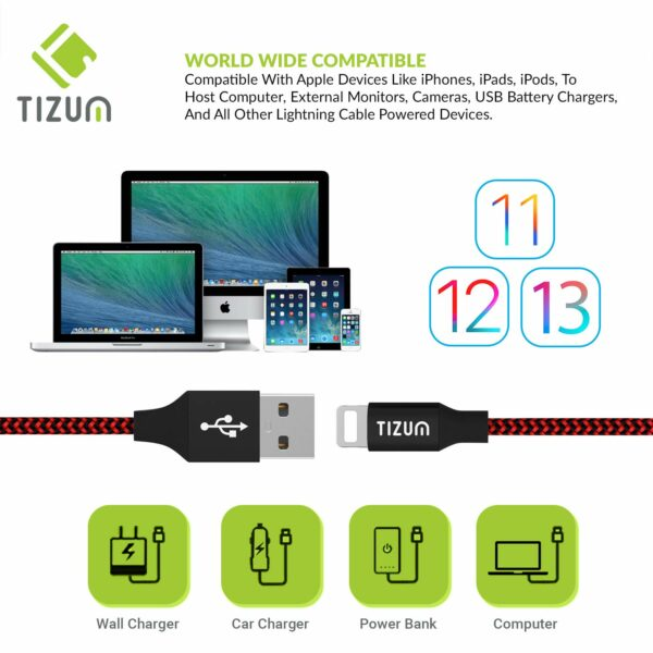 Tizum USB Fast Charging Cable Compatible with All iPhone Devices-3 Meter